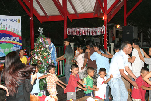 Capt, Sean Dunne from divetide brings Christmas on the back of a truck to the children living with hiv/aids at the Camillian social center rayong.