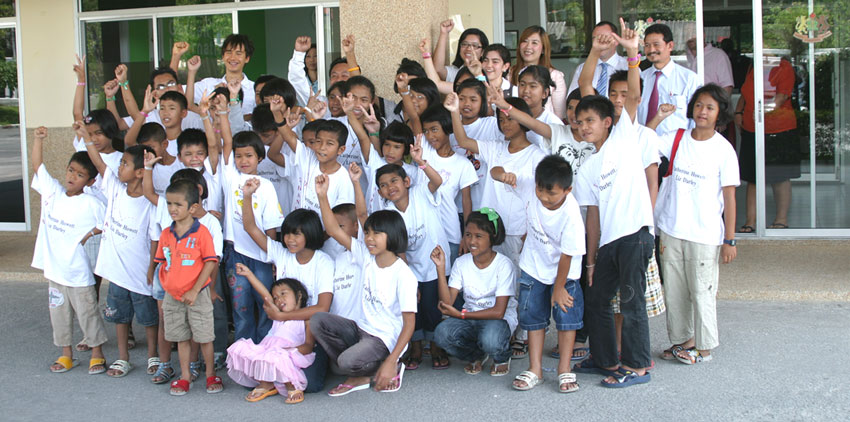 children living with HIV/AIDs were invited to a games day at the Garden International School Ban Chang.