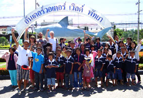 Children living with HIV/AIDS from The Camillian Social Center Rayong having a day out with Mr, James from Canada.