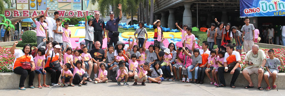 On the 9th of May 2012 the Jesters Care For Kids combined with the Jackalope Canadian Golf Club sponsored a day out for the Camillian Children living with HIV/AIDS at Dream World Bangkok.