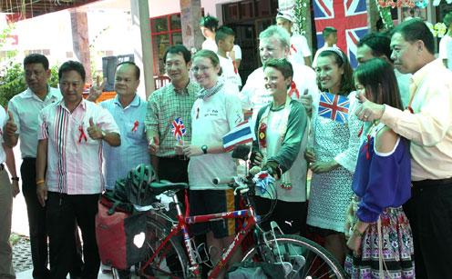 The Camillian Social Center Rayong home for children living with HIV/AIDS welcomes Liz & Catharine at the end of there little bicycle ride from London to Thailand.