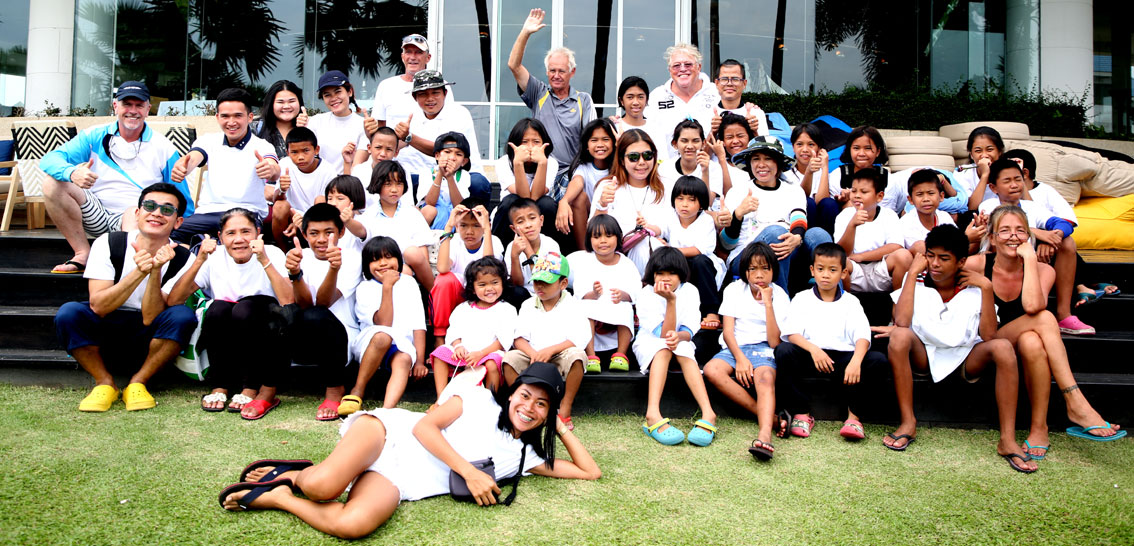 Children living with HIV/AIDS from The Camillian Social Center Rayong having a special boat trip OMYC captains.