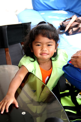 Children living with HIV/AIDS from The Camillian Social Center Rayong having a special boat trip with OMYC captains.