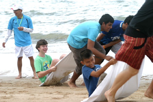 A trip to the beach for the Children of the Camillian Social Center Rayong living with HIV/AIDS sponsored by the Regent School Pattaya.